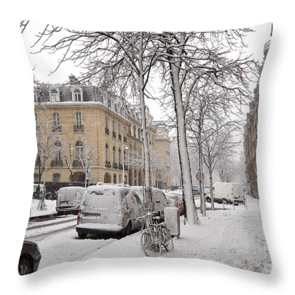 Snowy Day in Paris Throw Pillow by Louise Heusinkveld