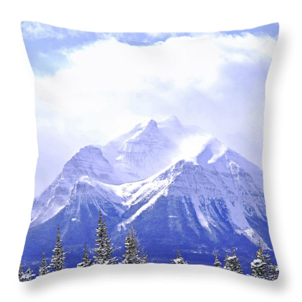 Snowy mountain Throw Pillow by Elena Elisseeva