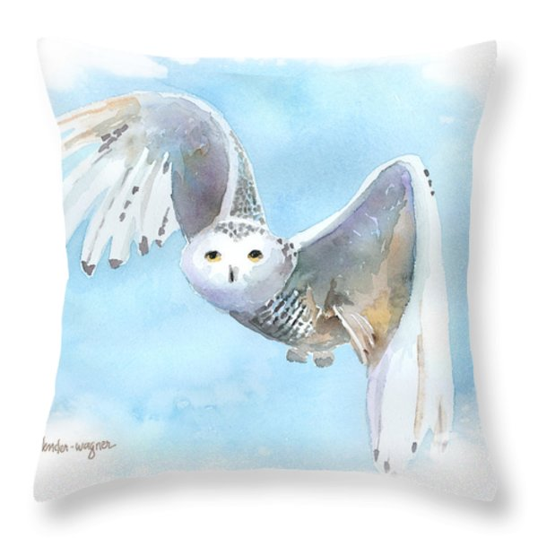 Snowy Owl In Flight Throw Pillow by Arline Wagner
