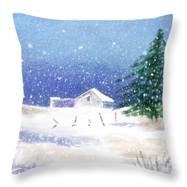 Snowy Winter Scene Throw Pillow by Arline Wagner