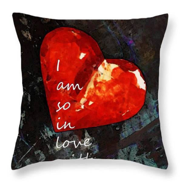 So In Love With You - Romantic Red Heart Painting Throw Pillow by Sharon Cummings