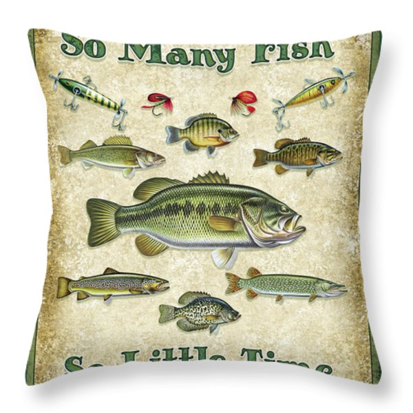 So Many Fish Sign Throw Pillow by JQ Licensing