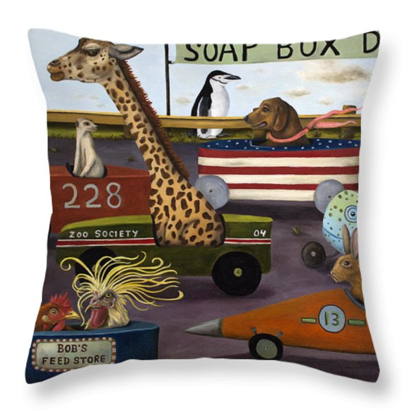 Soap Box Derby Throw Pillow by Leah Saulnier The Painting Maniac