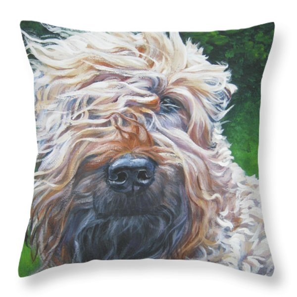 Soft Coated Wheaten Terrier Throw Pillow by Lee Ann Shepard