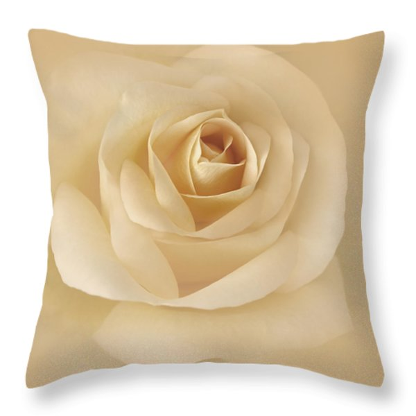 Soft Golden Rose Flower Throw Pillow by Jennie Marie Schell