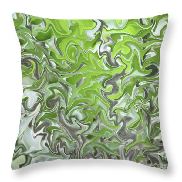 Soft Green and Gray Abstract Throw Pillow by Carol Groenen