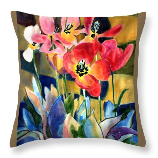 Soft Quilted Tulips Throw Pillow by Kathy Braud