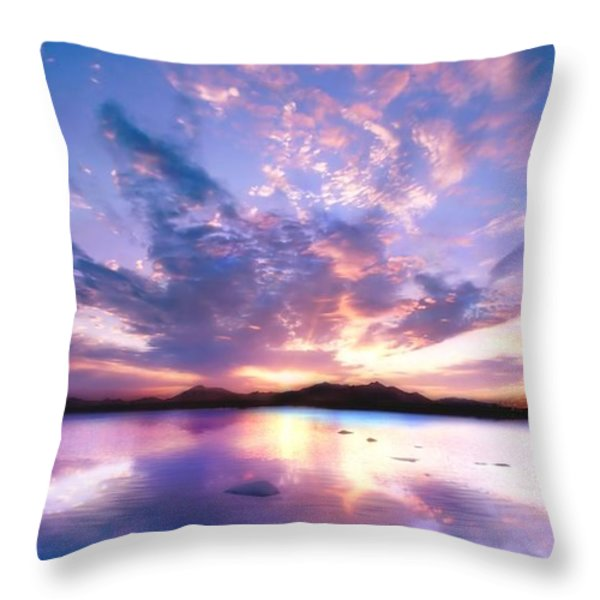 Soft Setting Throw Pillow by Photodream Art