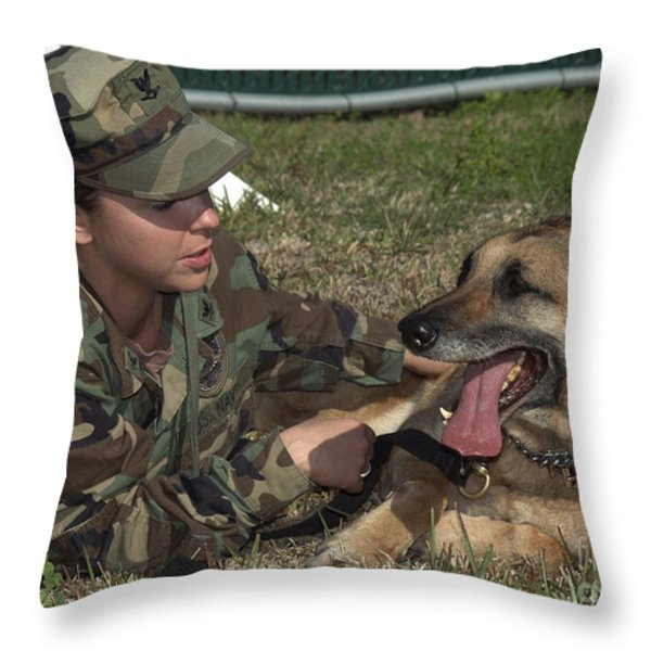 Soldier Gives Positive Reinforcement Throw Pillow by Stocktrek Images