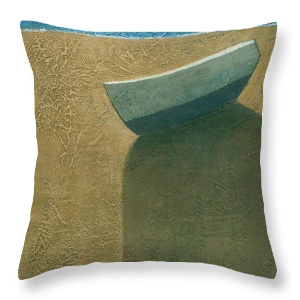Solitary Boat Throw Pillow by Steve Mitchell