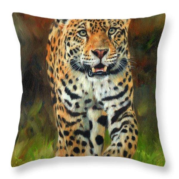 South American Jaguar Throw Pillow by David Stribbling