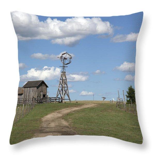 South Dakota: Windmill Throw Pillow by Granger