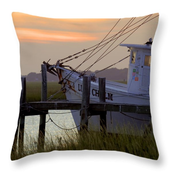 Southern Shrimp Boat Sunset Throw Pillow by Dustin K Ryan