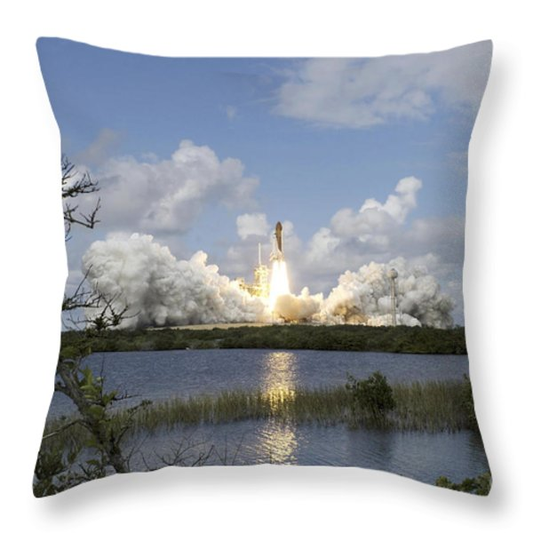 Space Shuttle Discovery Liftoff Throw Pillow by Stocktrek Images