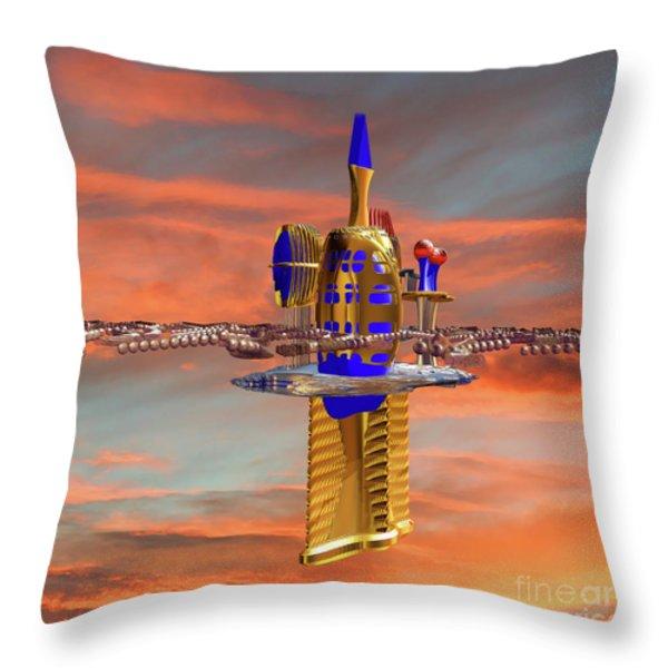 Space Station 3 Throw Pillow by Deborah Benoit