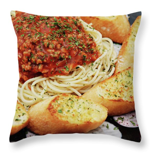 Spaghetti And Meat Sauce With Garlic Toast  Throw Pillow by Andee Design