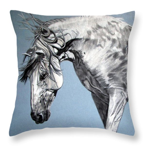 Spanish Horse Throw Pillow by Melita Safran