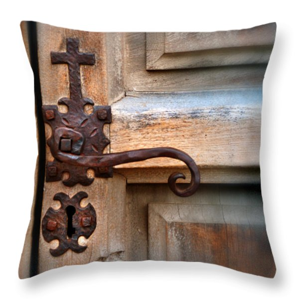 Spanish Mission Door Handle Throw Pillow by Jill Battaglia