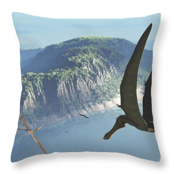 Species From The Genus Anhanguera Soar Throw Pillow by Walter Myers