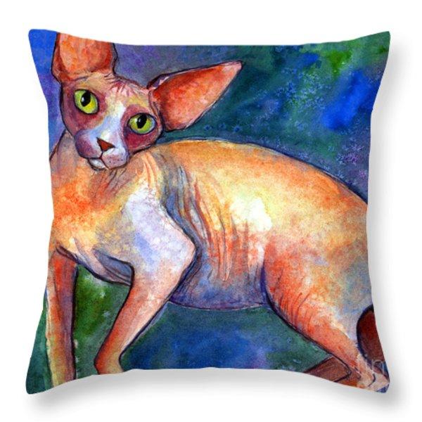 Sphynx Cat 4 Painting Throw Pillow by Svetlana Novikova