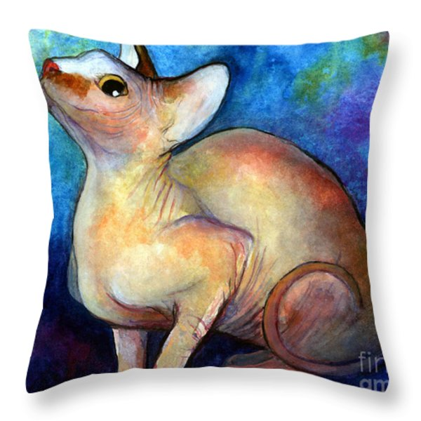 Sphynx Cat 5 Painting Throw Pillow by Svetlana Novikova