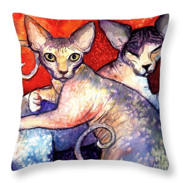 Sphynx cats sphinx family painting  Throw Pillow by Svetlana Novikova