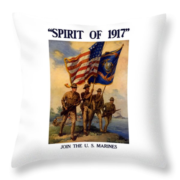 Spirit Of 1917 - Join The Us Marines  Throw Pillow by War Is Hell Store