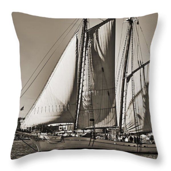 Spirit of South Carolina Schooner Sailboat Sepia Toned Throw Pillow by Dustin K Ryan