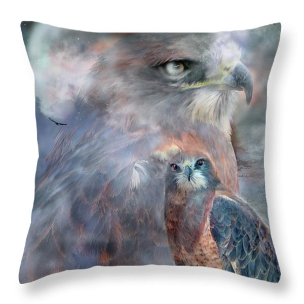 Spirit Of The Hawk Throw Pillow by Carol Cavalaris
