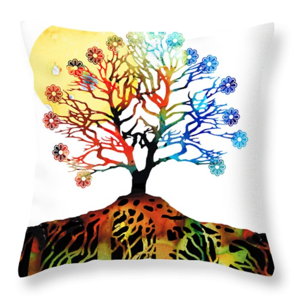 Spiritual Art - Tree Of Life Throw Pillow by Sharon Cummings