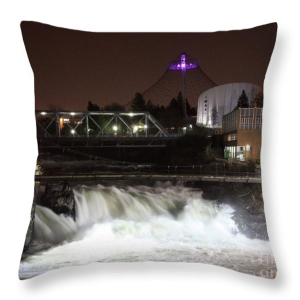 Spokane Falls Night Scene Throw Pillow by Carol Groenen