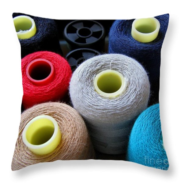 Spools Of Yarn Throw Pillow by Yali Shi