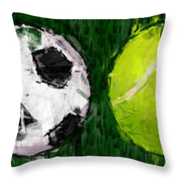 Sports Balls Abstract Throw Pillow by David G Paul