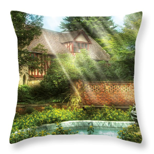 Spring - Garden - The Pool Of Hopes Throw Pillow by Mike Savad