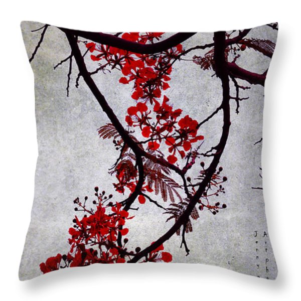 Spring Bloosom In Maldives. Flamboyant Tree II. Japanese Style Throw Pillow by Jenny Rainbow