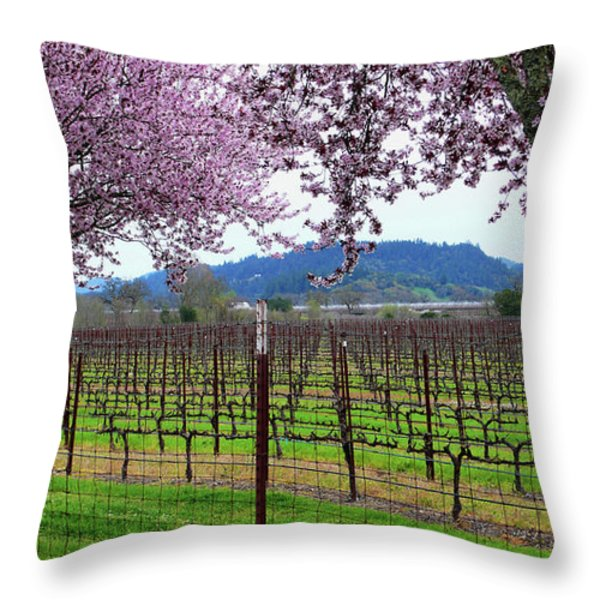 Spring Blossoms Near Calistoga Throw Pillow by Charlene Mitchell