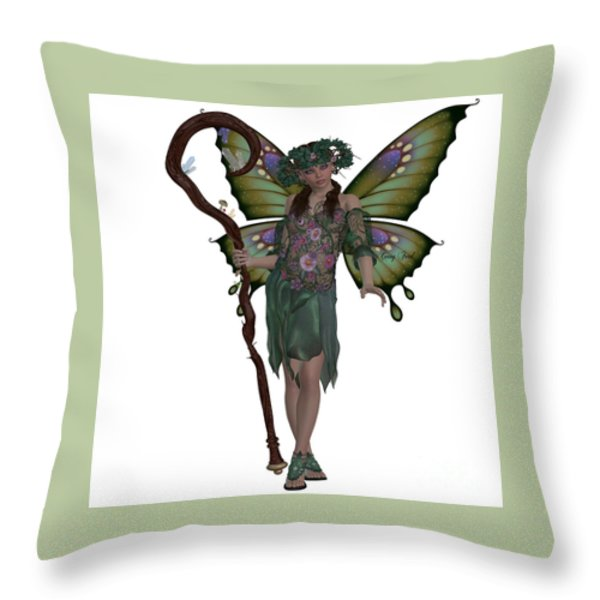 Spring Fairy Throw Pillow by Corey Ford