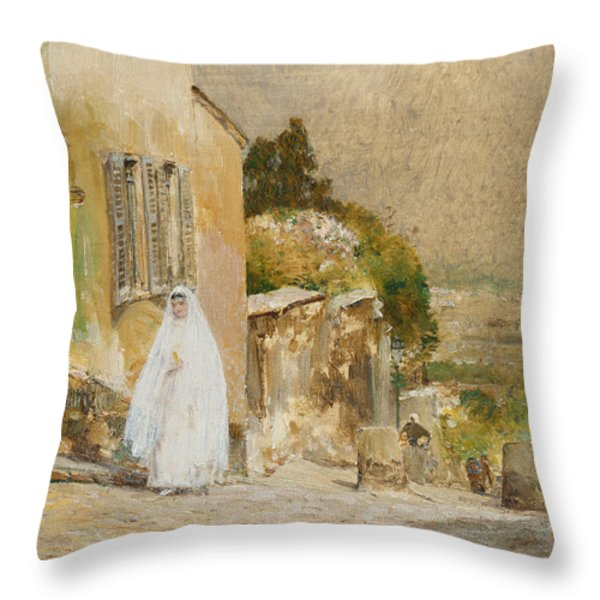 Spring Morning At Montmartre Throw Pillow by Childe Hassam