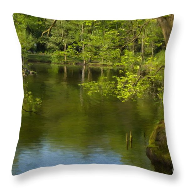 Spring On The Lake Throw Pillow by Angela Doelling AD DESIGN Photo and PhotoArt