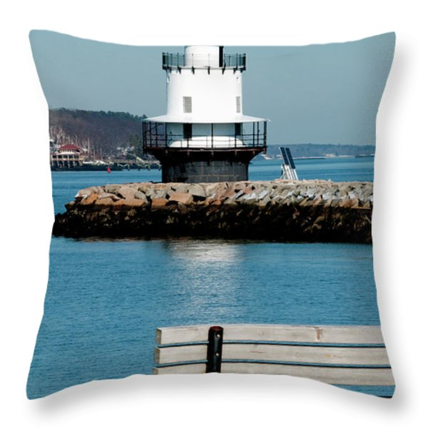 Spring Point Ledge Lighthouse Throw Pillow by Greg Fortier