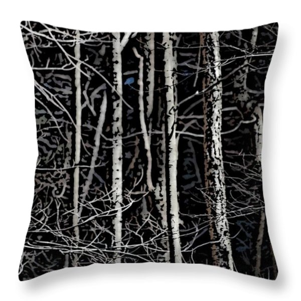 Spring Woods Simulated Woodcut Throw Pillow by David Lane