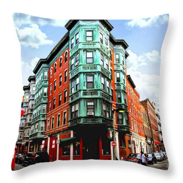 Square In Old Boston Throw Pillow by Elena Elisseeva