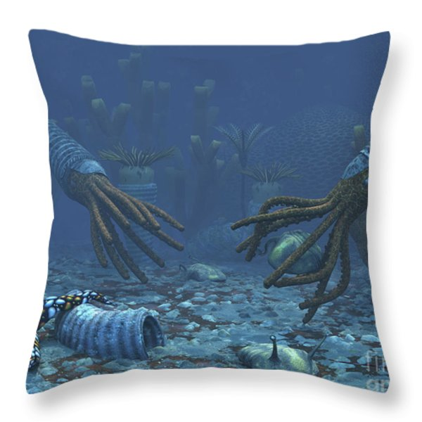 Squid-like Orthoceratites Attempt Throw Pillow by Walter Myers