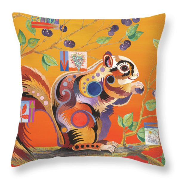 Squirrelling Away Throw Pillow by Bob Coonts