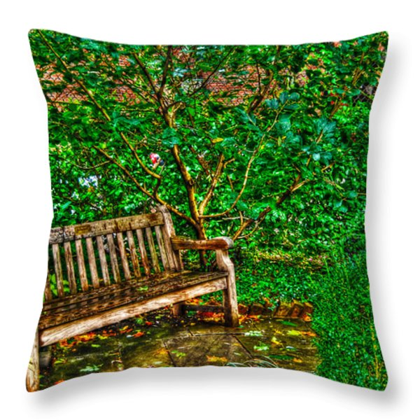 St. Luke In The Field Garden Bench Throw Pillow by Randy Aveille