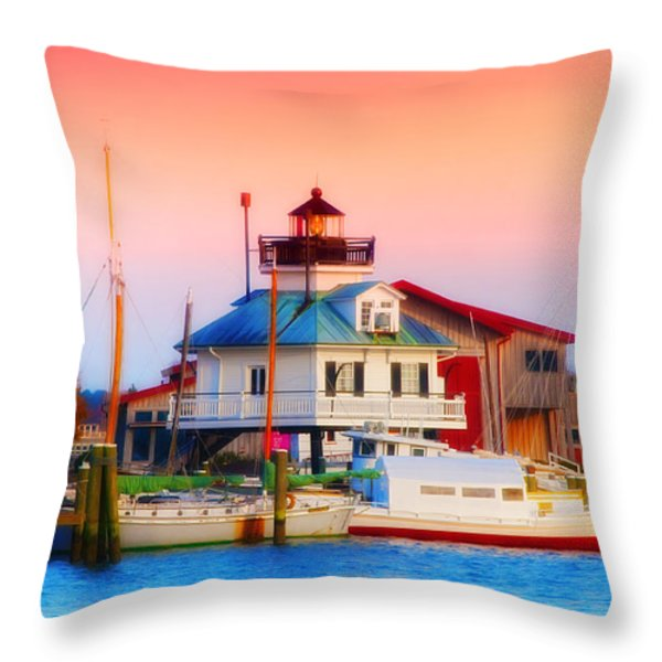 St. Michael's Lighthouse Throw Pillow by Bill Cannon