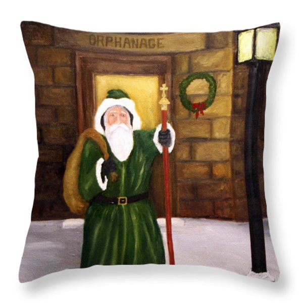 St. Nicholas Throw Pillow by Timothy Smith