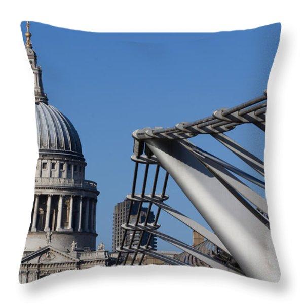 St Pauls Cathedral And The Millenium Bridge  Throw Pillow by David Pyatt