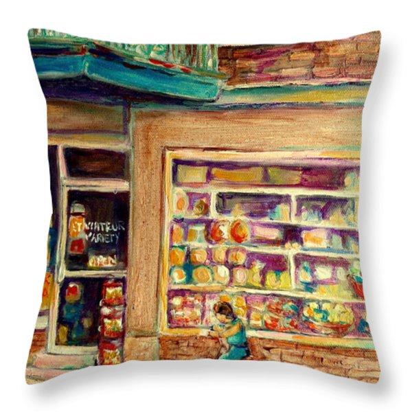 St Viateur Street Montreal Throw Pillow by Carole Spandau