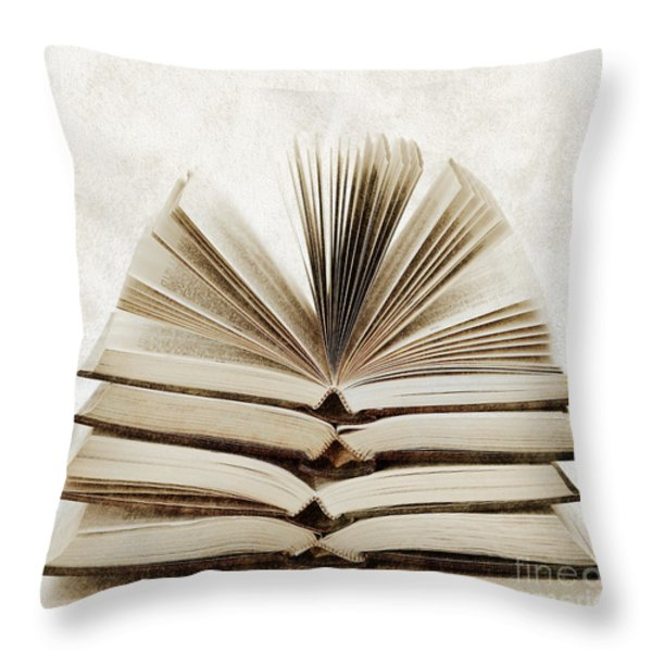 Stack Of Open Books Throw Pillow by Elena Elisseeva